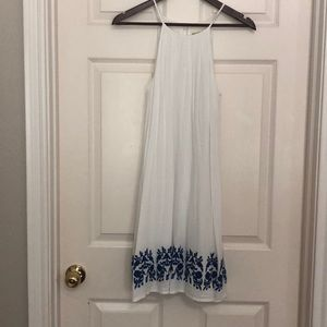 Gianni Bini White Dress with Blue Embroidery